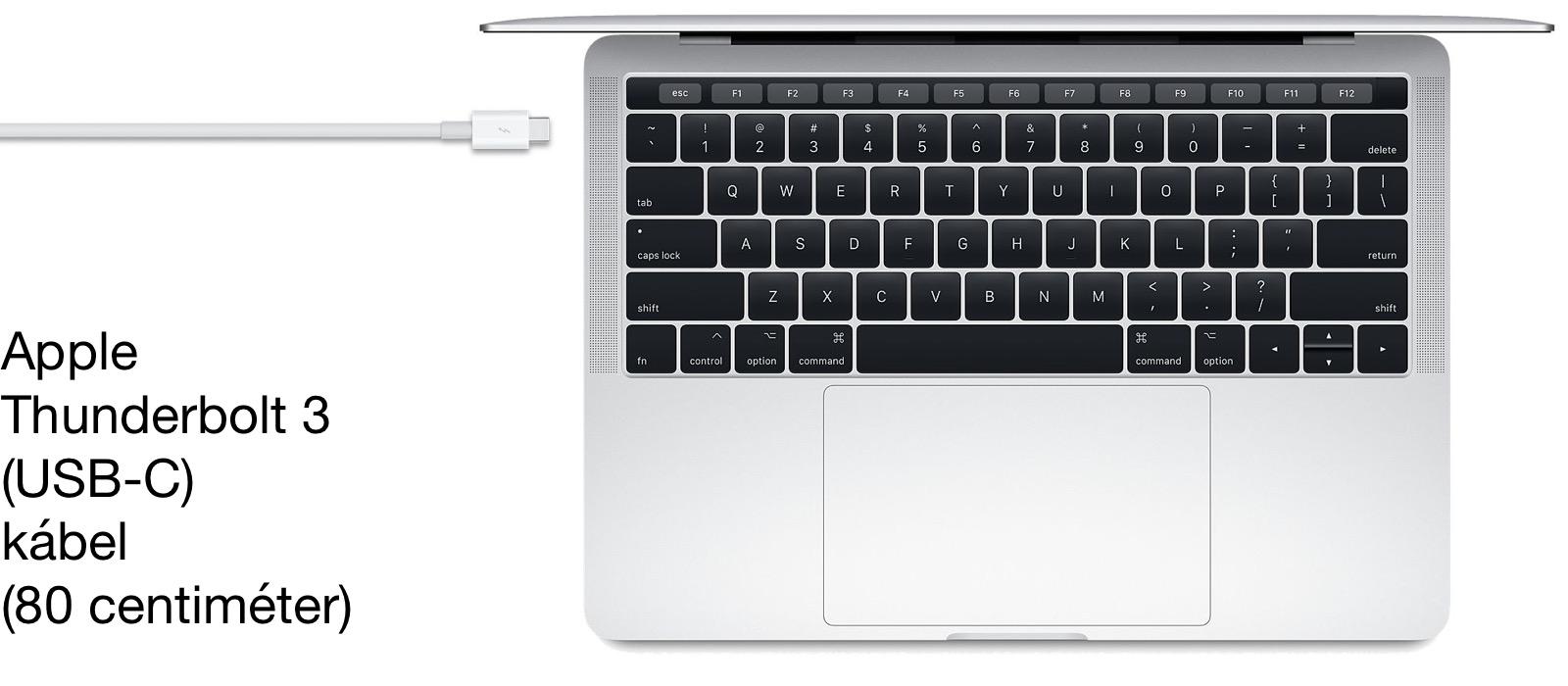 Az Apple villámgyors átvitelt és akár 100 Watt tápellátást is biztosító Thunderbolt 3 szabványú USB-C kábele.