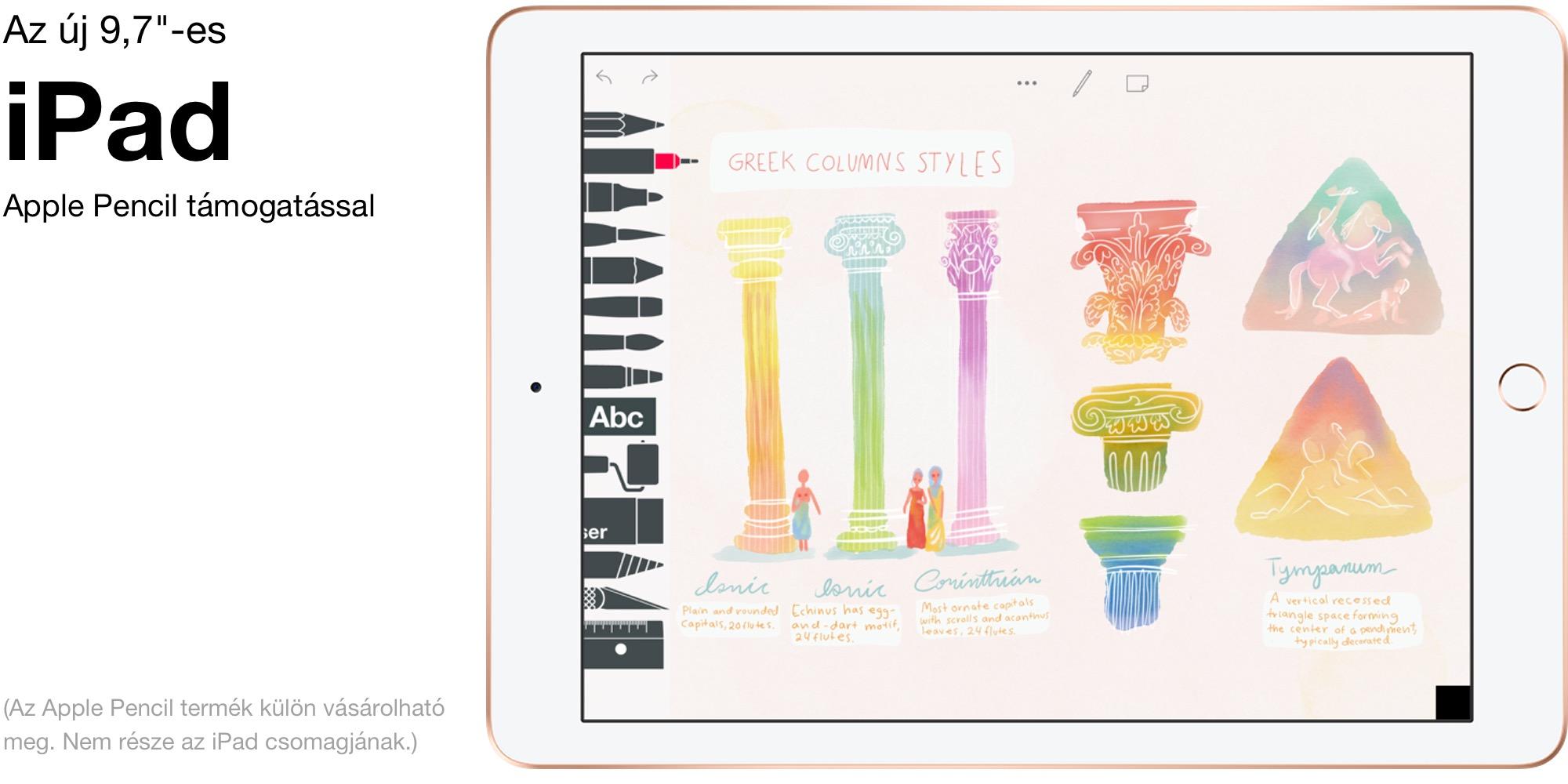 """9,7""""-es iPad, Apple Pencil (első generációs) támogatással."""