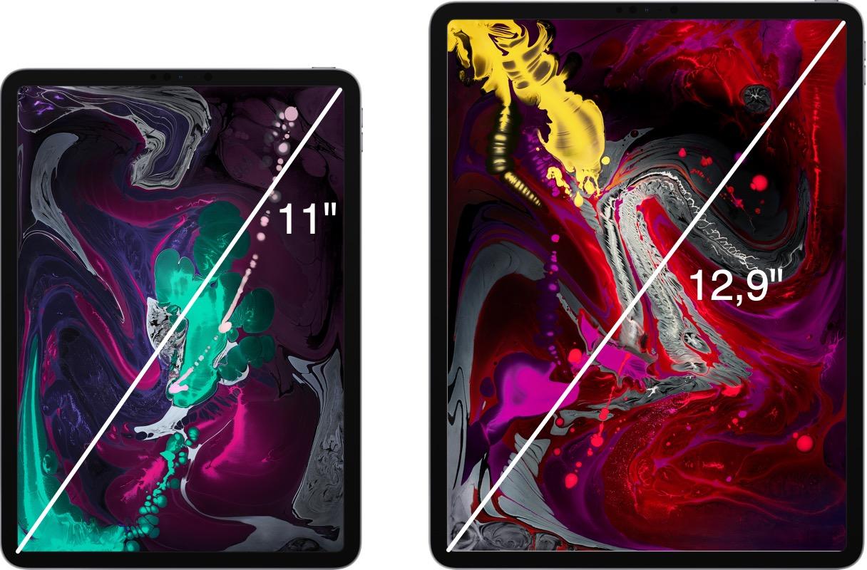 iPad Pro képátlók összehasonlítása méretarányosan.