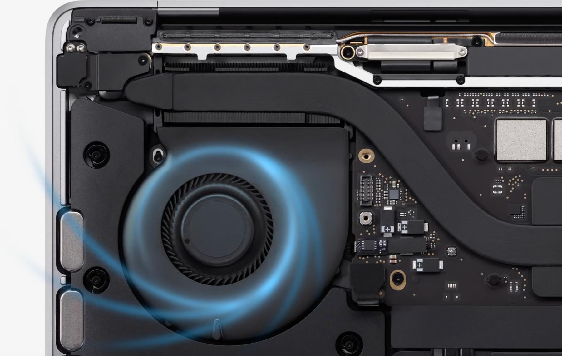 """A MacBook Pro 13"""" ventilátorral van kiegészítve, így a teljesítményt nem kell visszavenni intenzív igénybevétel esetén sem."""