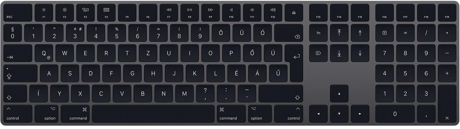 Asztroszürke Magic Keyboard numerikus felülettel.