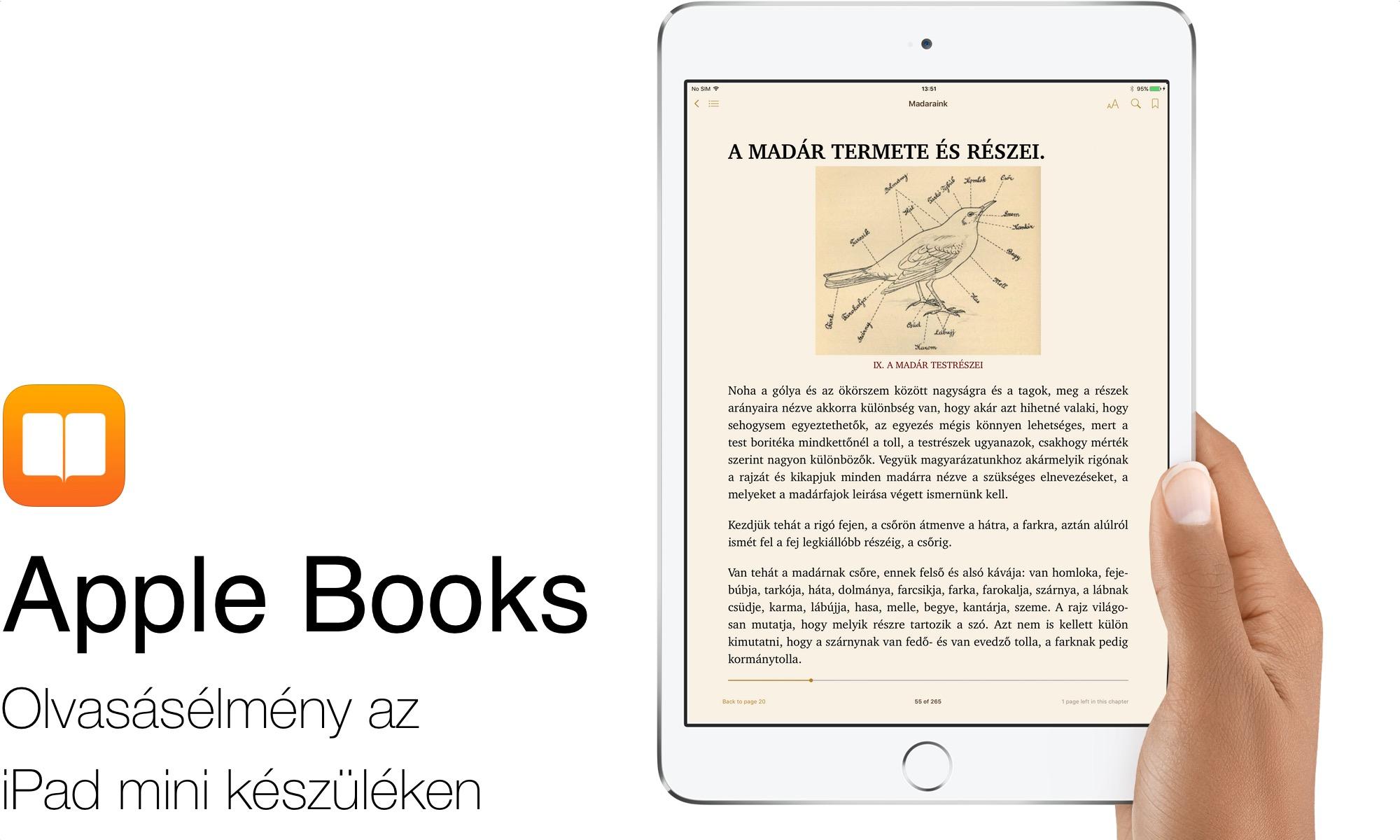 Apple Books - könyvolvasás az iPad mini felületén